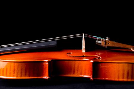 Closeup shot of violin orchestra musical instruments.