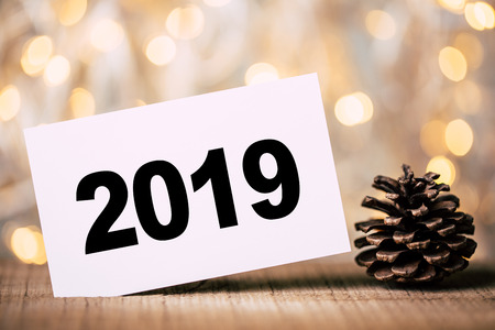 The Number 2019 with christmas and new year background.