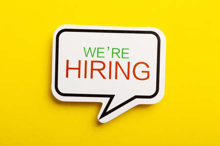 We Are Hiring speech bubble isolated on yellow background.