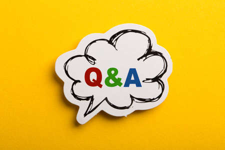 Question And Answer Q&A symbol speech bubble isolated on yellow background.
