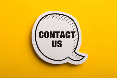Contact speech bubble isolated on yellow background.