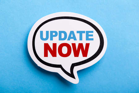 Update concept speech bubble isolated on blue background. Stock Photo
