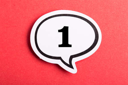 Number One Speech Bubble isolated on red background.
