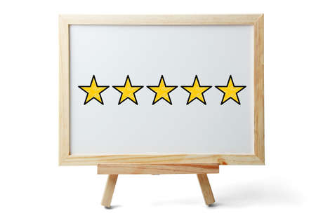 Five stars for review, increase rating or ranking, evaluation and classification concept.