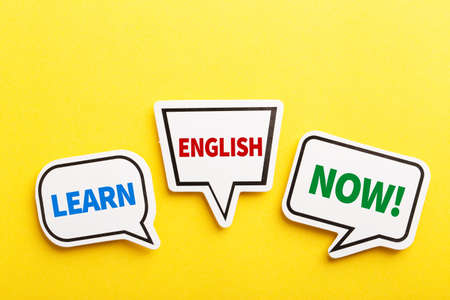Learn English speech bubble isolated on the yellow background.