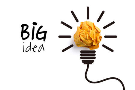 Big idea and innovation concept with paper ball.