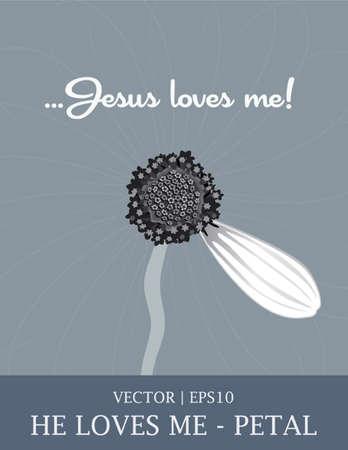 Jesus He loves me daisy flower petal Bible  Ilustrace