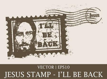 Jesus grunge vintage postage stamp Christian Bible vector | EPS10