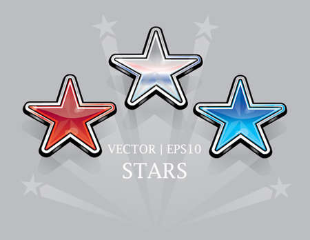 Glossy shiny american red white and blue stars  Çizim
