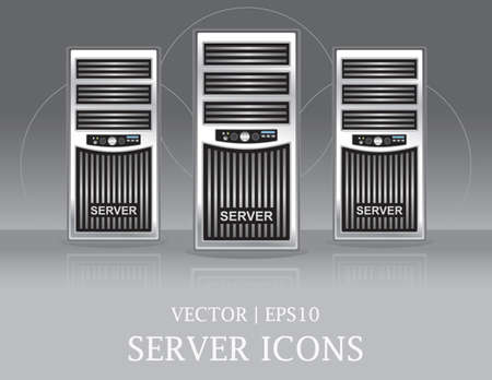 Computer Server Tower Icons Set