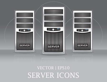 Computer Server Tower Icons Set