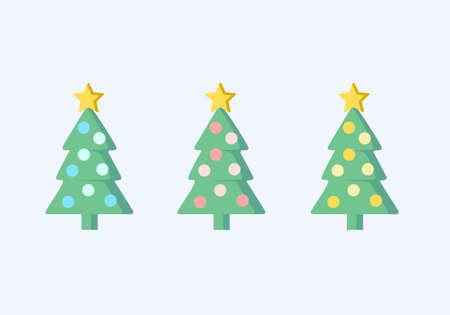 Christmas tree vector 3 color set illustration. Ilustracja