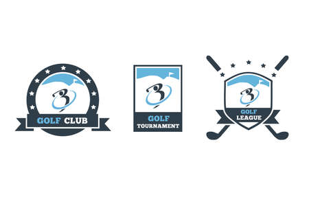 Golf club 3 set in blue colors, scalable and resizable vectors icons. Ilustrace