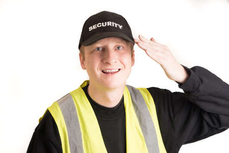 a watchman: security guard with white background Stock Photo