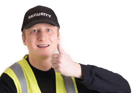 watchman: security guard with white background Stock Photo