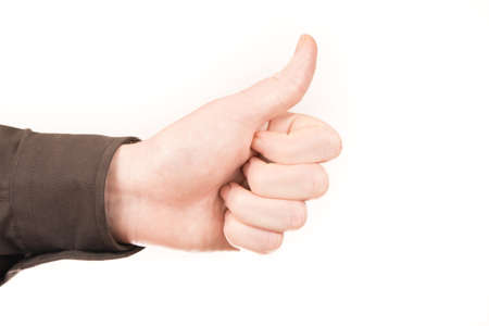 thumps up: hand thumps up with white background