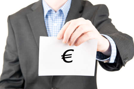 business sign: business man with sign euro Stock Photo