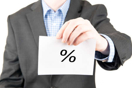 business sign: business man with sign percent Stock Photo