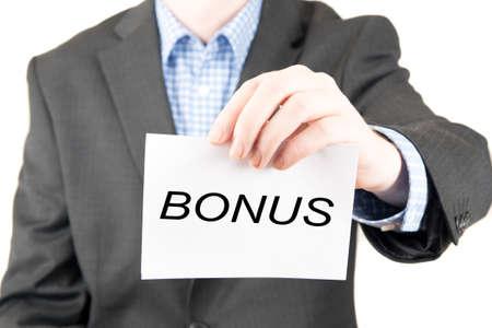 business sign: business man with sign bonus