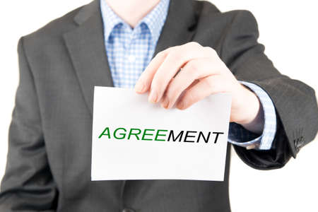 business sign: business man with sign agreement Stock Photo