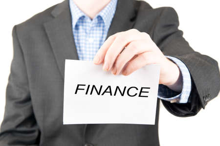 business sign: business man with sign finance Stock Photo