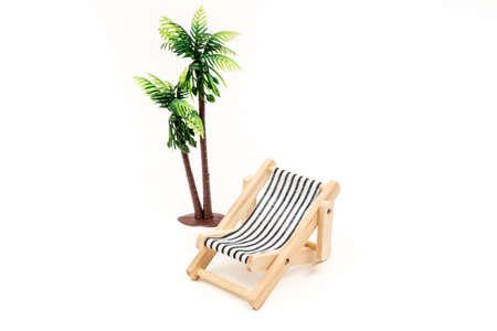 deckchair: model deckchair on white background Stock Photo