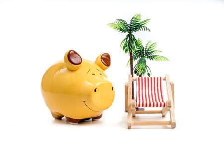 deckchair: piggy bank deckchair holiday