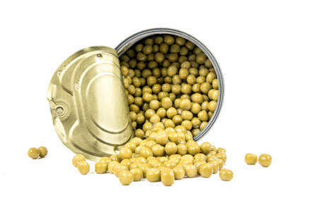 tin: tin with peas isolated