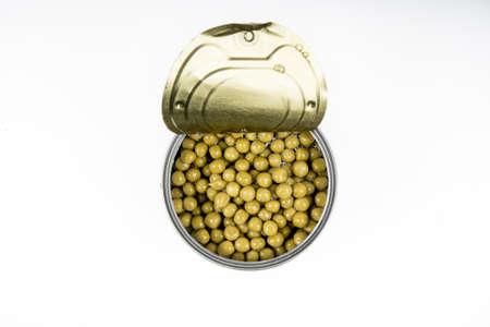 tin: tin with peas isolated
