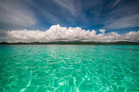 Panoramic view over crystal clear water in Fiji