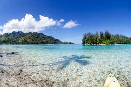 Panoramic island view from the ocean at Moorea Tahiti French Polynesia
