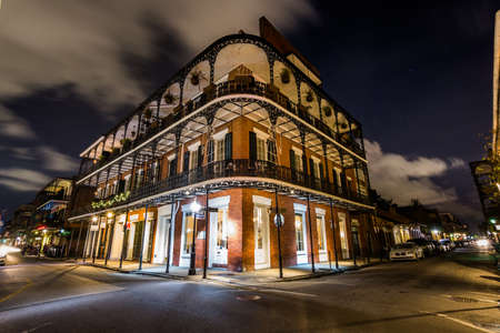 quarters: Downtown French Quarters New Orleans, Louisiana at Night Editorial