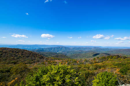 mountainscape: Colorful Leaves in Shenandoah National Park During high Fall Color in Virgina Stock Photo
