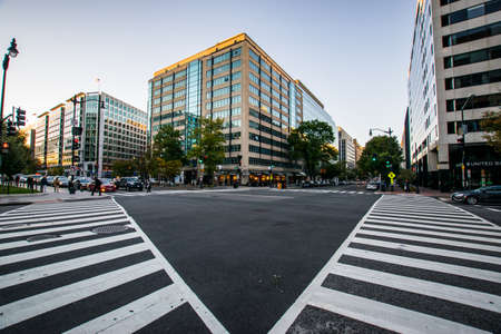 governement: Crosswalk framing a building in downtown DC during a warm summer day