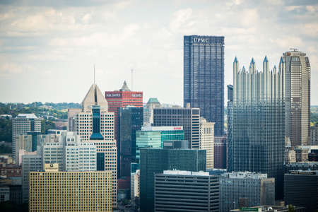 allegheny: Dramatic Skyline of Downtown above the Monongahela River in Pittsburgh, Pennsylvania