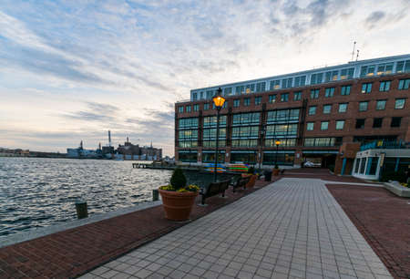 maryland: Harbor in downtown historic Harbor East Fells Point, Baltimore Maryland