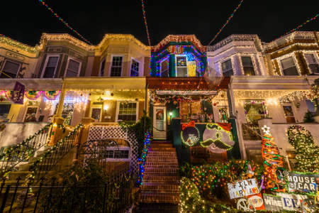 Holiday Christmas Lights on Building in Hampden, Baltimore Maryland at Night
