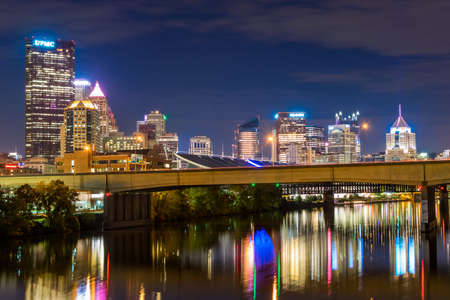 allegheny: Skyline of Pittsburgh, Pennsylvania at Night on the David McCullough Bridge