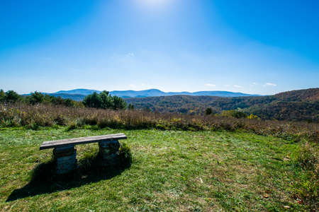mountainscape: Skyline of The Blue Ridge Mountains in Virginia at Shenandoah National Park During High Fall Color Stock Photo
