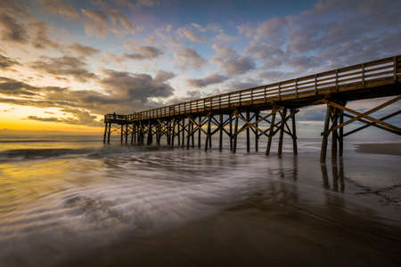 Pier at Ise of Palms Beach, in Charleston South Carolina at Sunrise