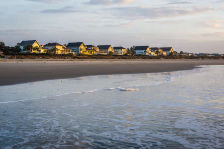 Skyline of Beach Homes at Ise of Palms Beach, in Charleston South Carolina at Sunrise