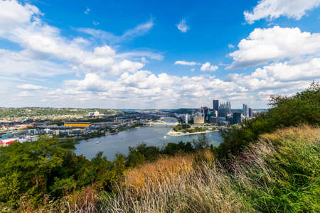 Dramatic Skyline of Downtown above the Monongahela River in Pittsburgh, Pennsylvania