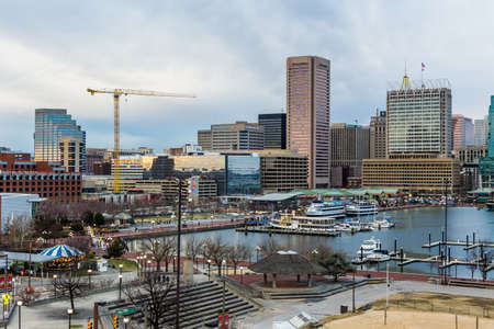 md: Waterfront of Skyline from Federal Hill Baltimore, Maryland looking towards the Inner Harbor Editorial
