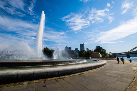 allegheny: Summer Landscape of Point State Park Fountain in Pittsburgh, Pennsylvania Stock Photo