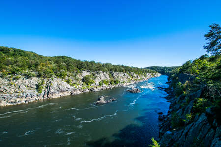 Strong White Water Rapids in Great Falls Park, Virginia Side
