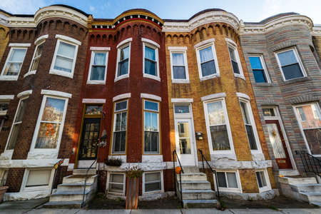 Variety of Colorful Row Homes in Hampden, Baltimore Maryland 新聞圖片