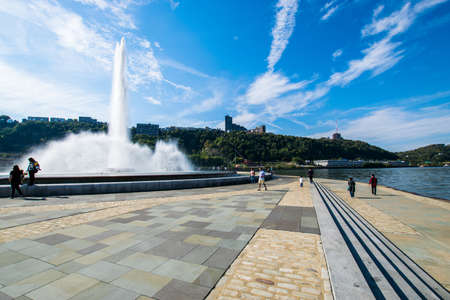 allegheny: Summer Landscape of Point State Park Fountain in Pittsburgh, Pennsylvania Editorial
