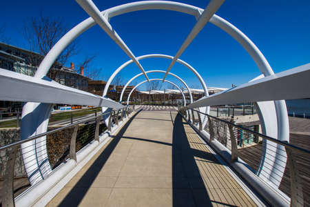 Anacostia Riverwalk trail in DC on a clear day Editorial