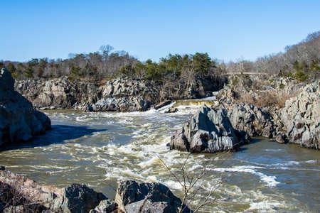 george washington: rushing white water in great falls park, virginia side in winter