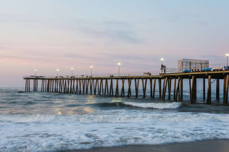 Fishing Pier in ventnor city beach in atlantic city, new jersey at sunrise Editorial